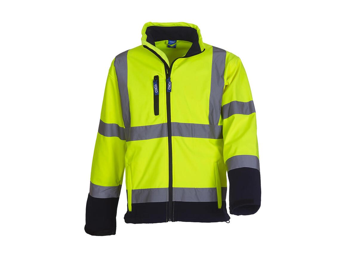 Yoko Fluo Softshell Jacket, Fluo Yellow/Navy, 3XL bedrucken, Art.-Nr. 427776528