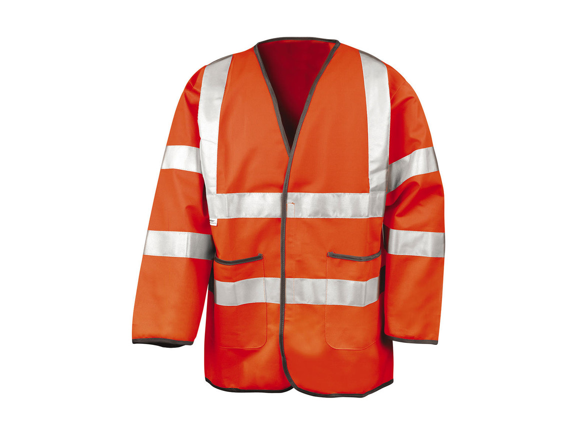 Result Light-Weight Safety Jacket, Fluorescent Orange, 3XL bedrucken, Art.-Nr. 432334058