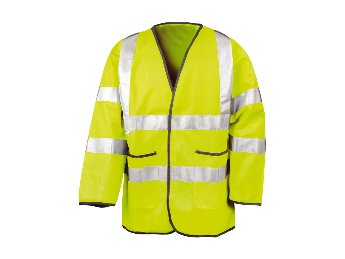 Result Light-Weight Safety Jacket, Fluorescent Yellow, XL bedrucken, Art.-Nr. 432336056