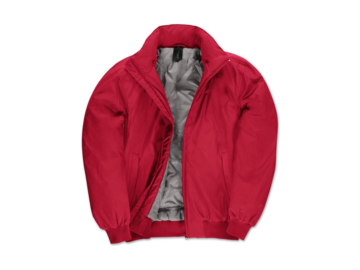 B & C Crew Bomber/men Jacket, Red/Warm Grey, 3XL bedrucken, Art.-Nr. 434424708