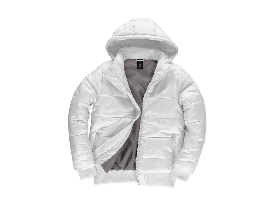 B & C Superhood/men Jacket, White/Warm Grey, M bedrucken, Art.-Nr. 437420724