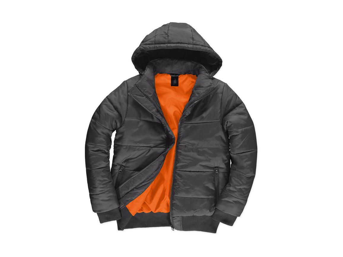 B & C Superhood/men Jacket, Dark Grey/Neon Orange, 2XL bedrucken, Art.-Nr. 437421707