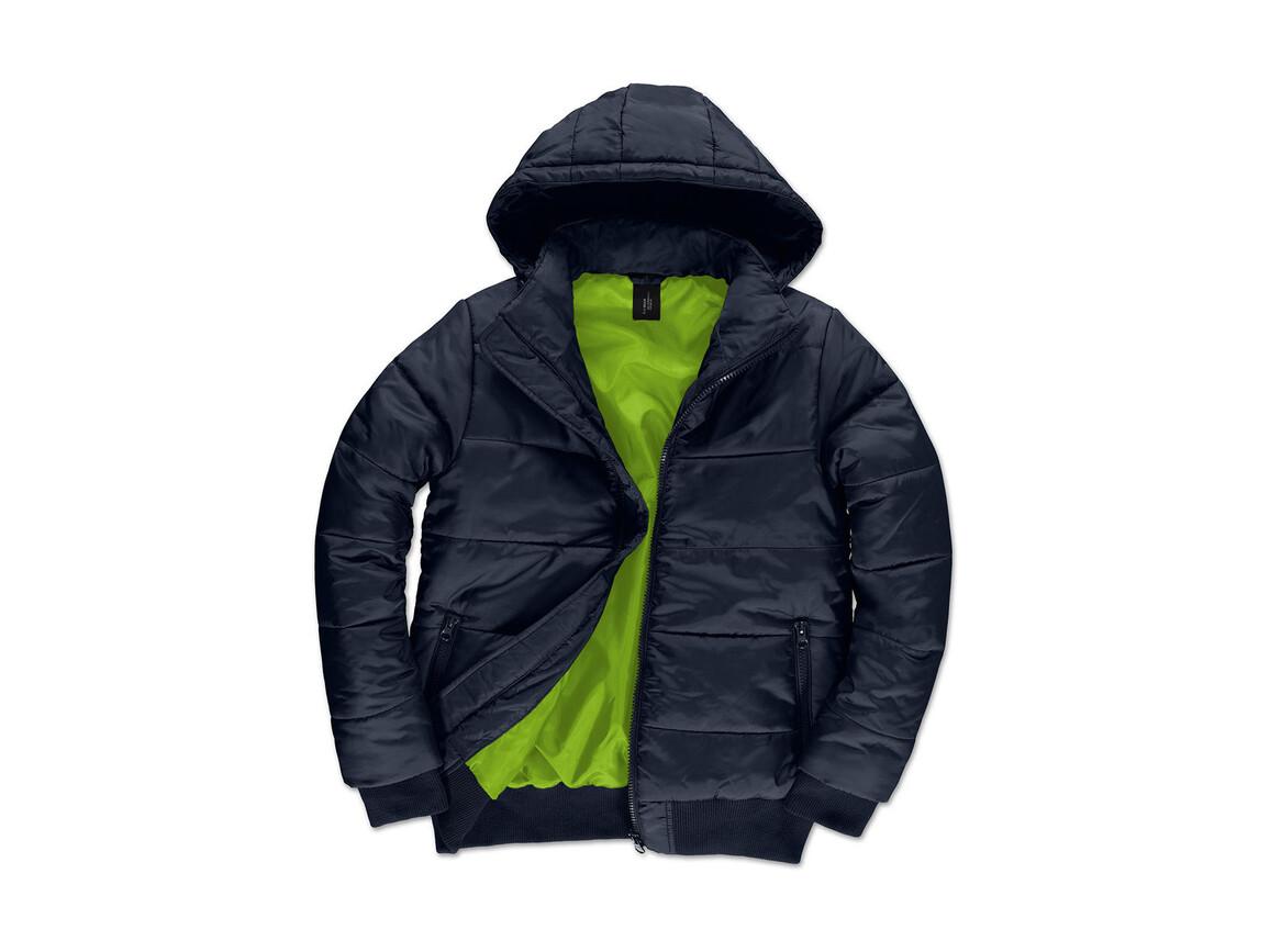 B & C Superhood/men Jacket, Navy/Neon Green, S bedrucken, Art.-Nr. 437422703