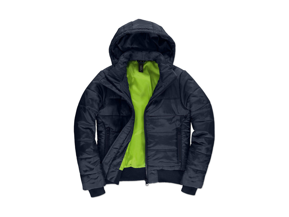 B & C Superhood/women Jacket, Navy/Neon Green, 2XL bedrucken, Art.-Nr. 439422707
