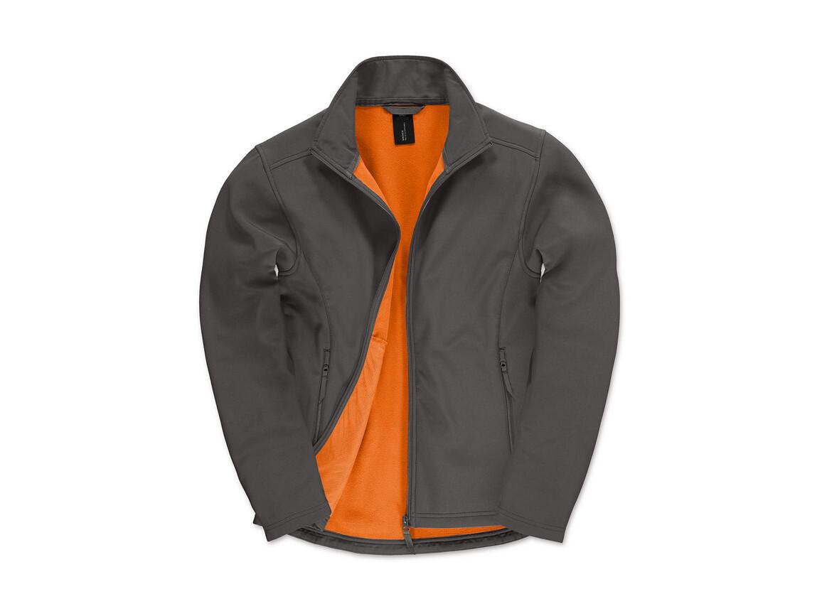 B & C ID.701 Softshell Jacket, Dark Grey/Neon Orange, M bedrucken, Art.-Nr. 445421704