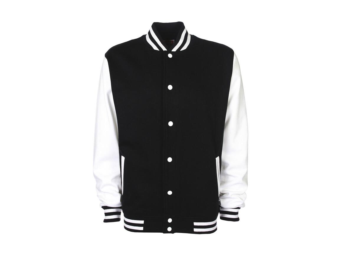 FDM Varsity Jacket, Black/White, L bedrucken, Art.-Nr. 455551505