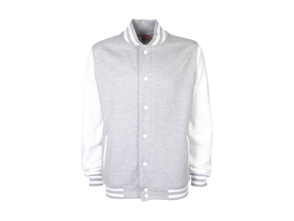 FDM Varsity Jacket, Sport Grey/White, XS bedrucken, Art.-Nr. 455551602