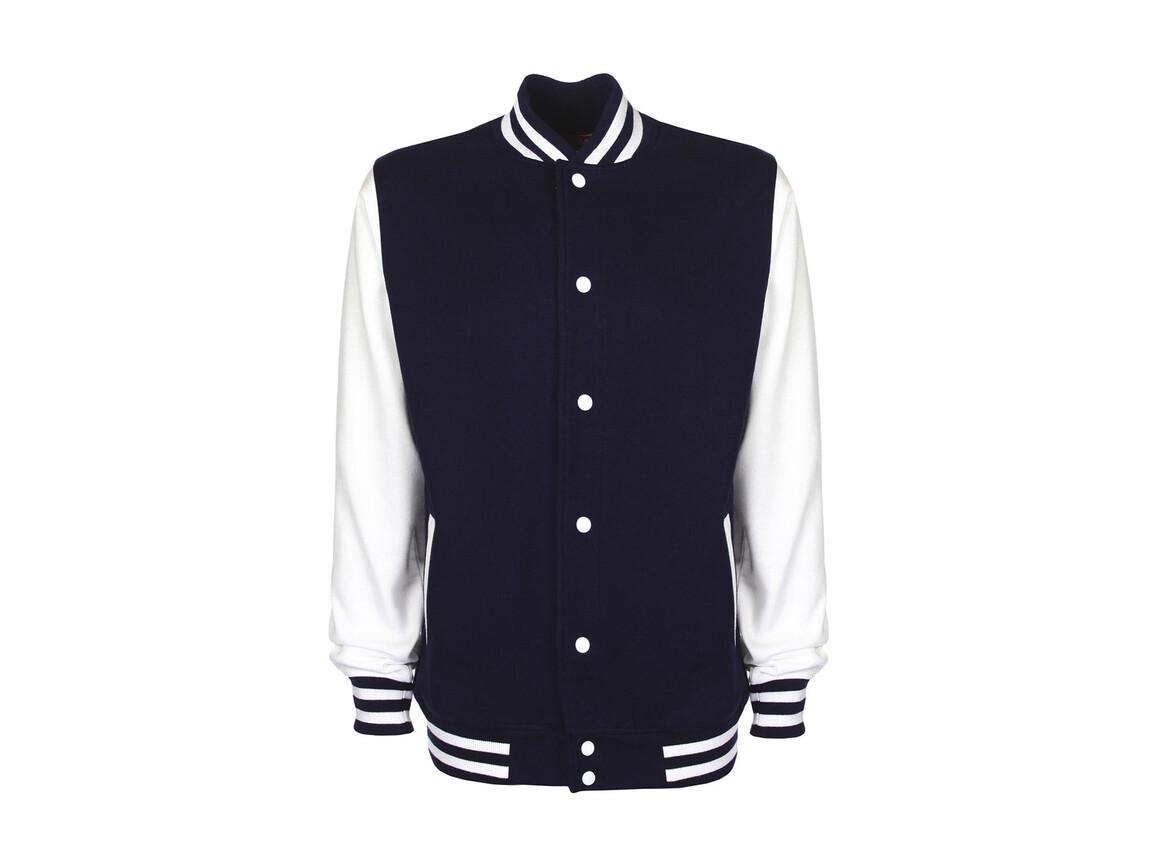 FDM Varsity Jacket, Navy/White, XL bedrucken, Art.-Nr. 455552526