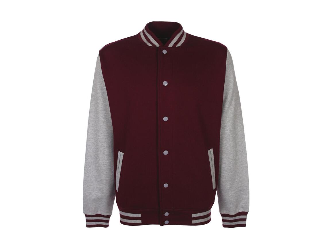 FDM Varsity Jacket, Burgundy/Sport Grey, XS bedrucken, Art.-Nr. 455554612