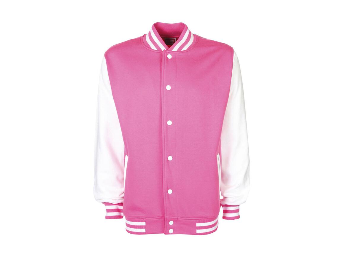 FDM Varsity Jacket, Bubblegum/White, XL bedrucken, Art.-Nr. 455554666