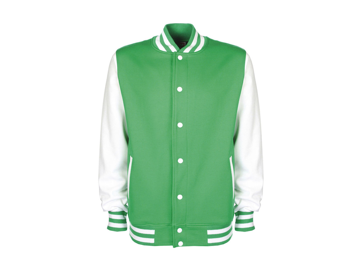 FDM Varsity Jacket, Kelly Green/White, S bedrucken, Art.-Nr. 455555503