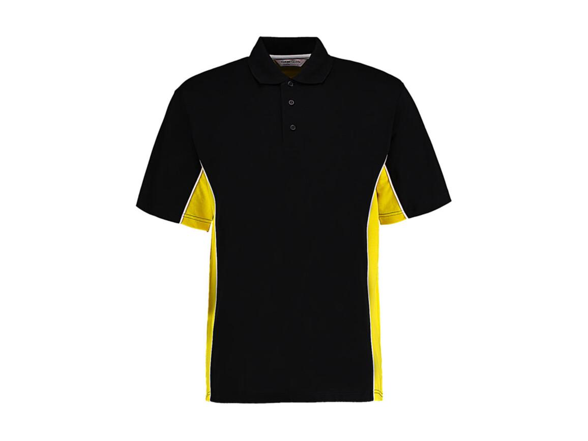 Kustom Kit Classic Fit Track Polo, Black/Yellow/White, L bedrucken, Art.-Nr. 547111965