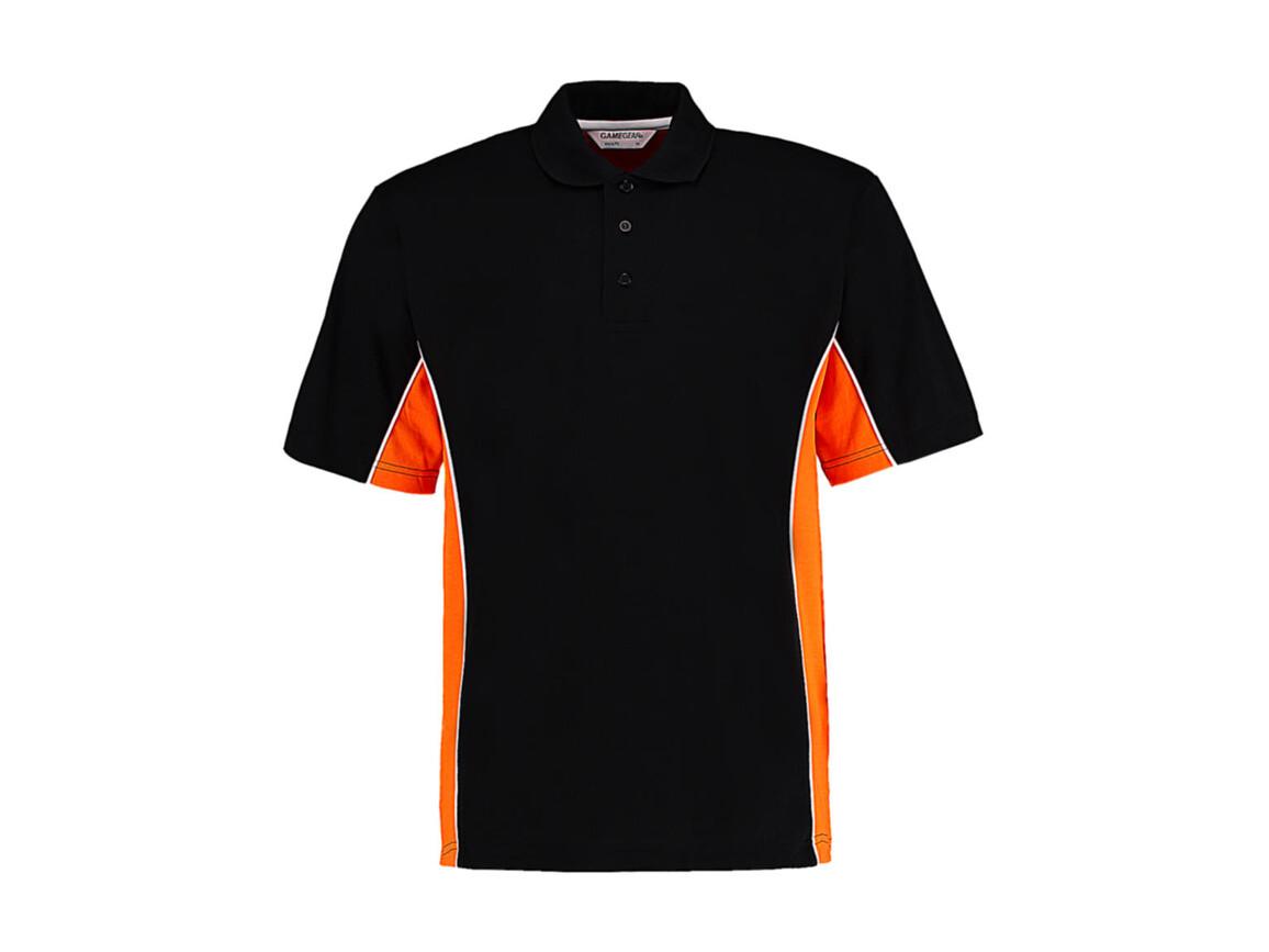 Kustom Kit Classic Fit Track Polo, Black/Orange/White, L bedrucken, Art.-Nr. 547111975
