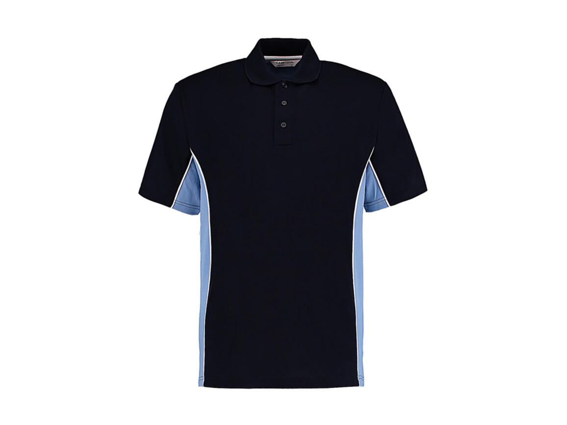 Kustom Kit Classic Fit Track Polo, Navy/Light Blue/White, 3XL bedrucken, Art.-Nr. 547112838