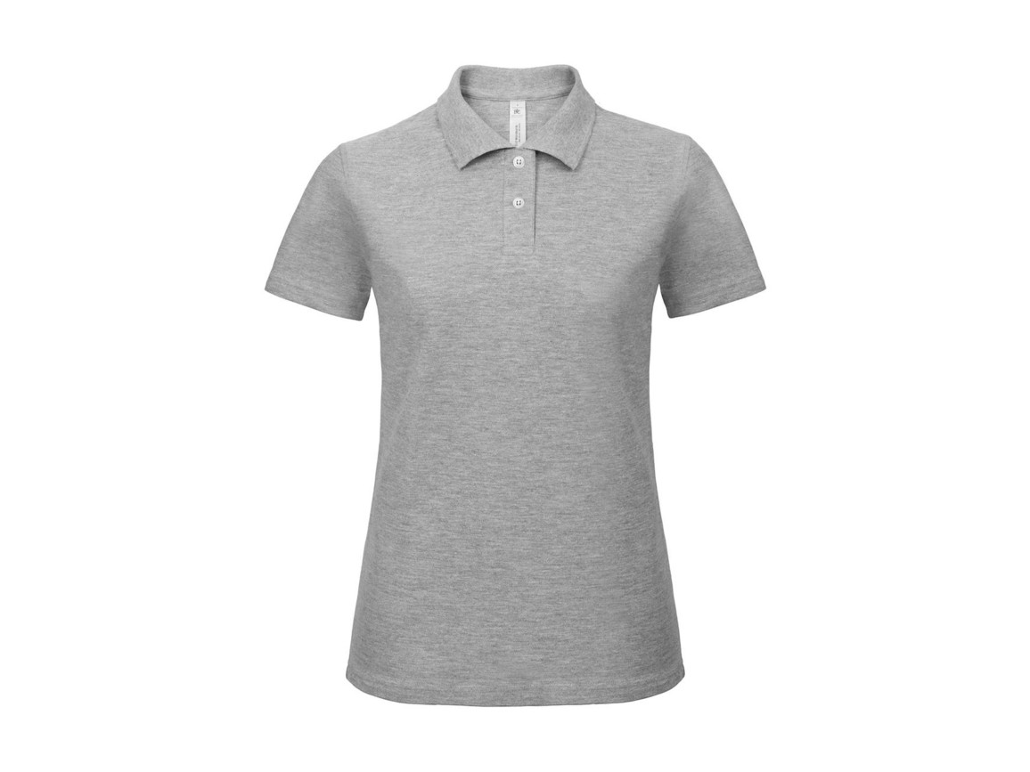 B & C ID.001/women Piqué Polo Shirt, Heather Grey, S bedrucken, Art.-Nr. 547421233