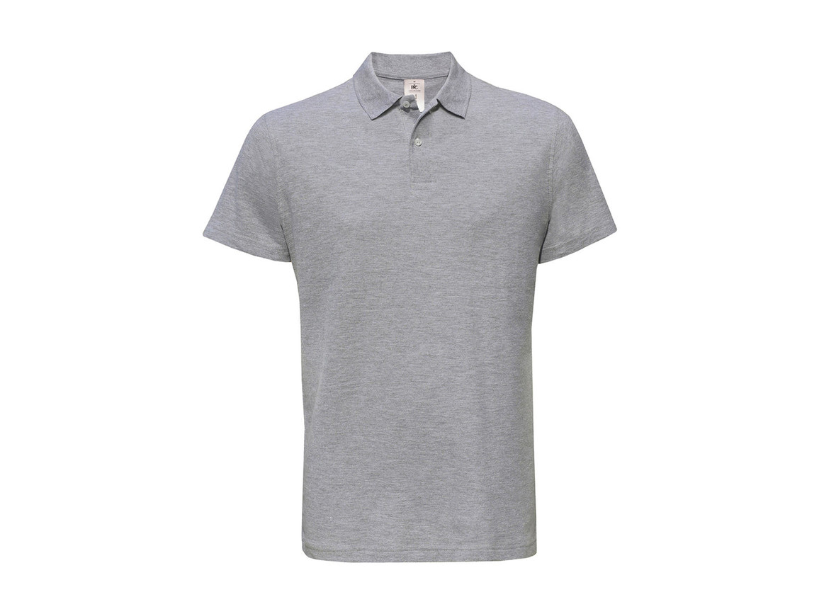 B & C ID.001 Piqué Polo Shirt, Heather Grey, M bedrucken, Art.-Nr. 548421234