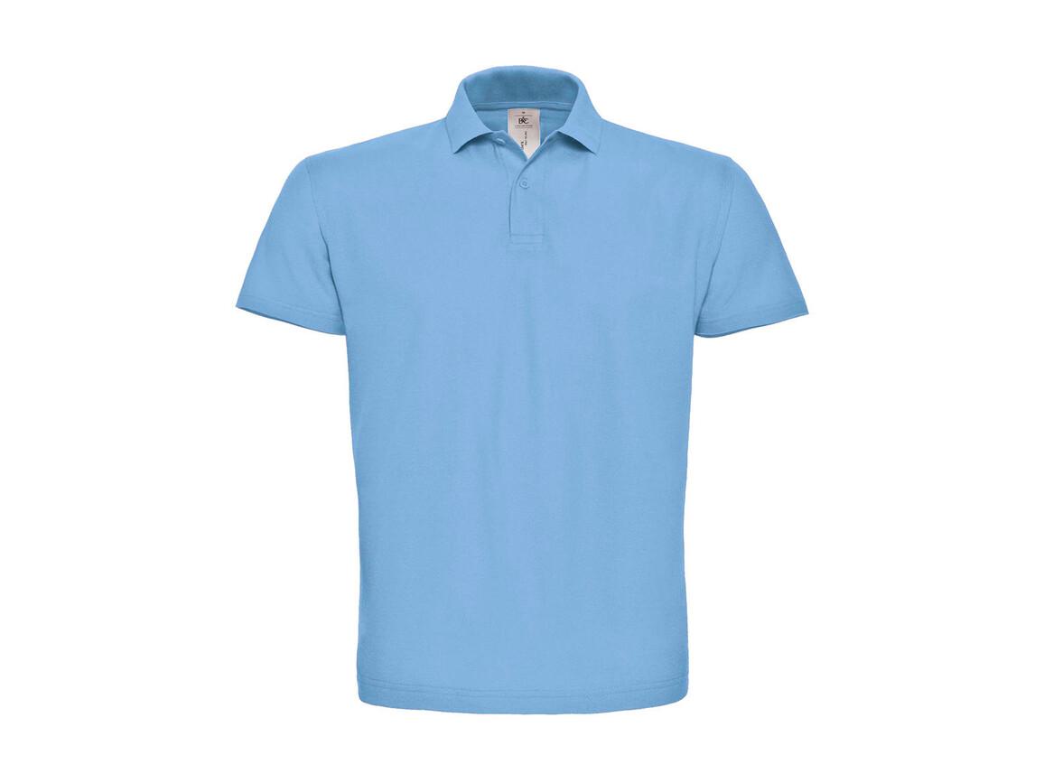 B & C ID.001 Piqué Polo Shirt, Light Blue, L bedrucken, Art.-Nr. 548423225