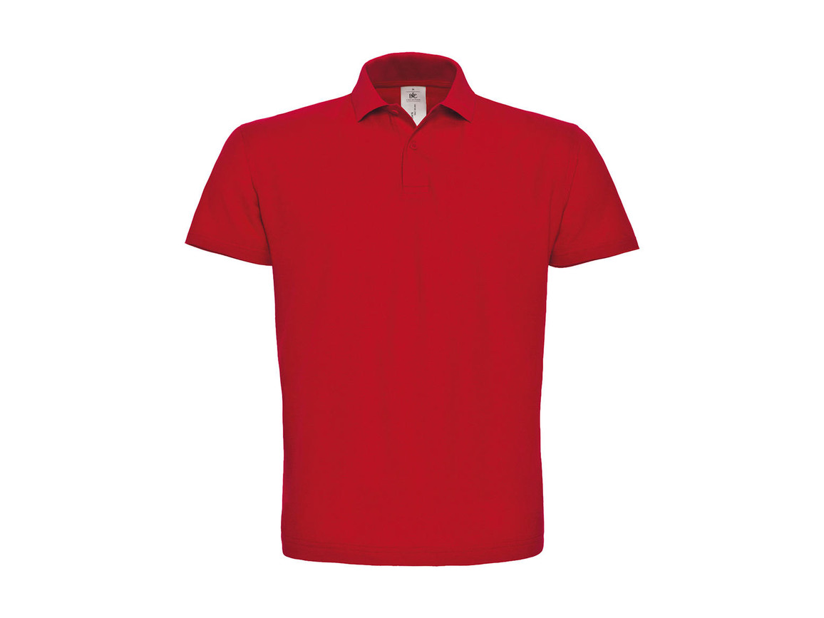 B & C ID.001 Piqué Polo Shirt, Red, M bedrucken, Art.-Nr. 548424004