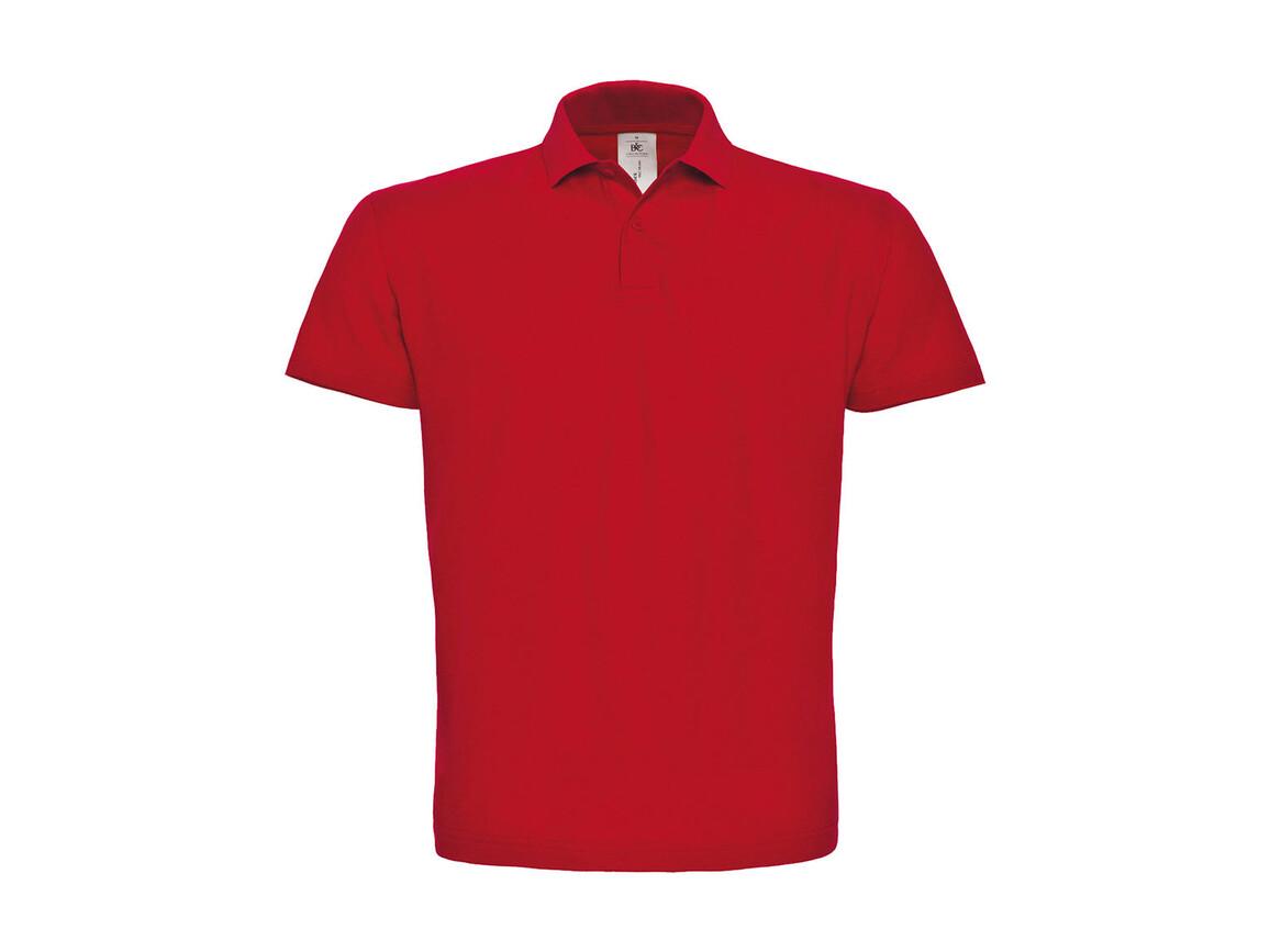 B & C ID.001 Piqué Polo Shirt, Red, S bedrucken, Art.-Nr. 548424003