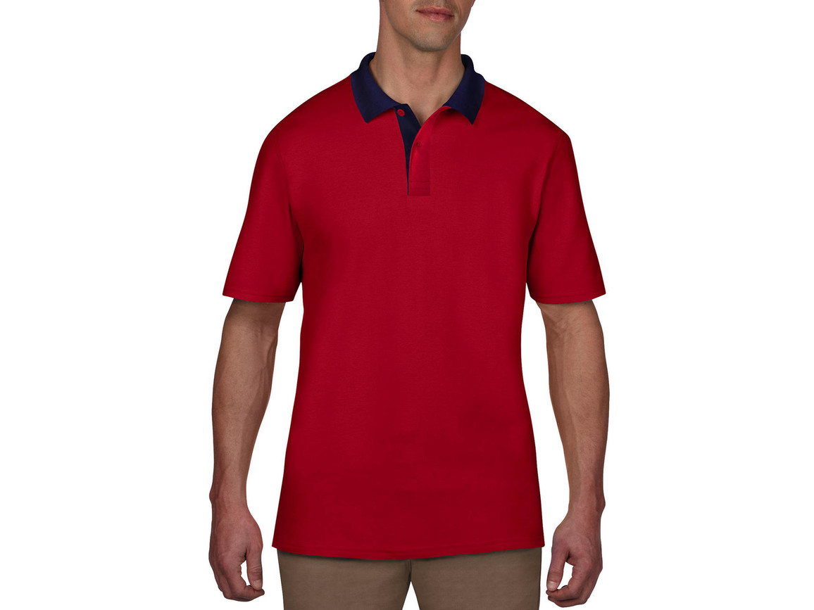 Anvil Adult Double Piqué Polo, Red/Navy, 2XL bedrucken, Art.-Nr. 549084557