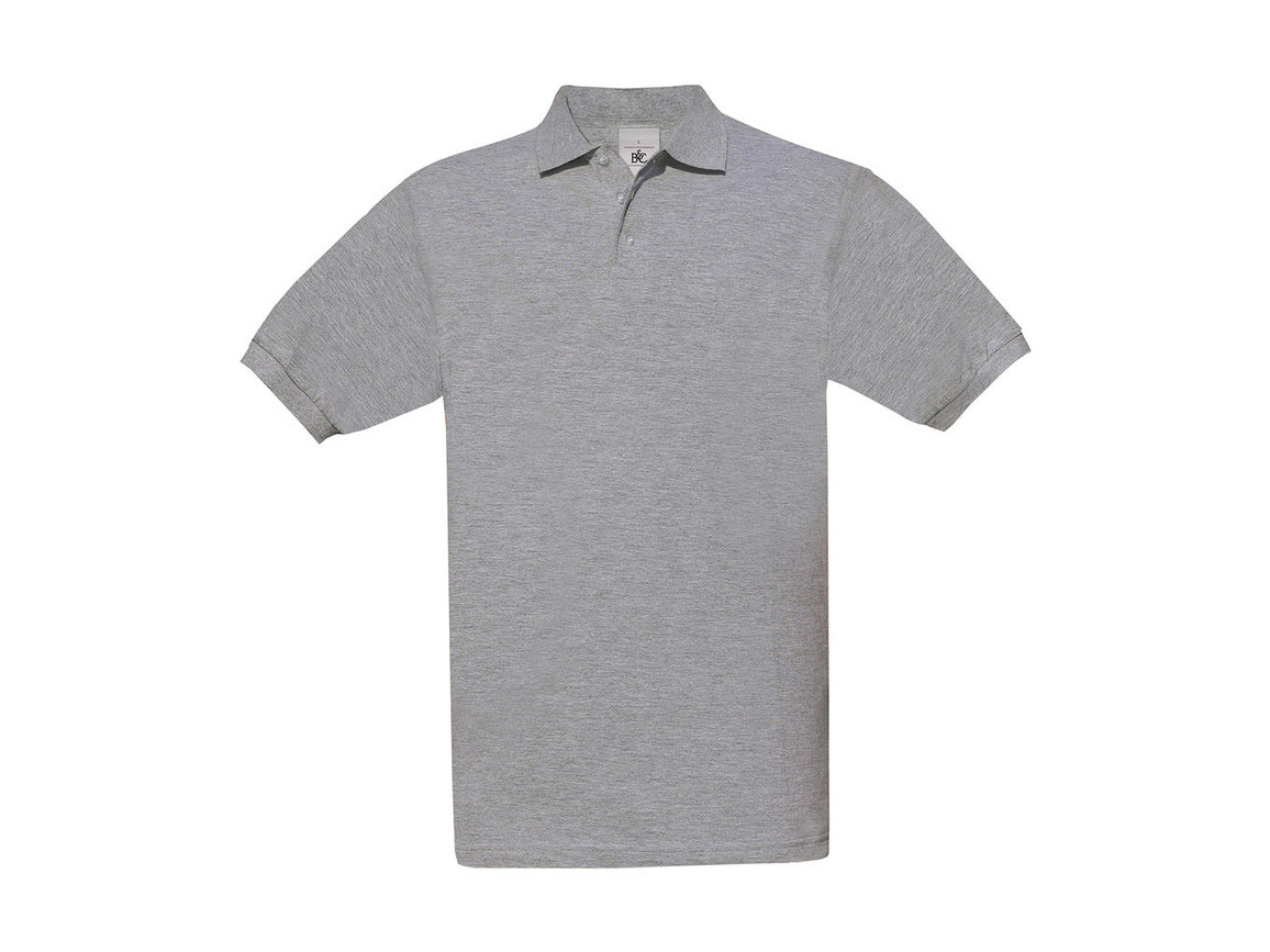 B & C Safran Piqué Polo, Heather Grey, S bedrucken, Art.-Nr. 549421233