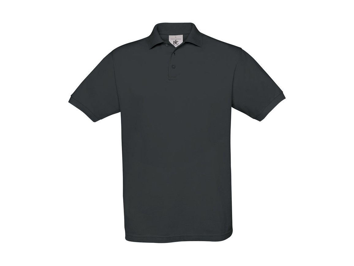B & C Safran Piqué Polo, Dark Grey, S bedrucken, Art.-Nr. 549421283