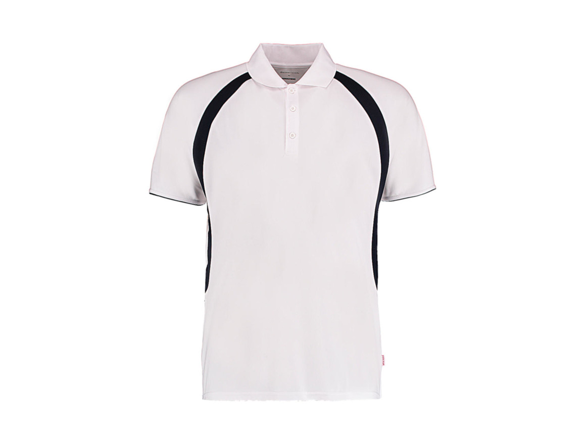 Kustom Kit Classic Fit Cooltex® Riviera Polo Shirt, White/Navy, L bedrucken, Art.-Nr. 550110525