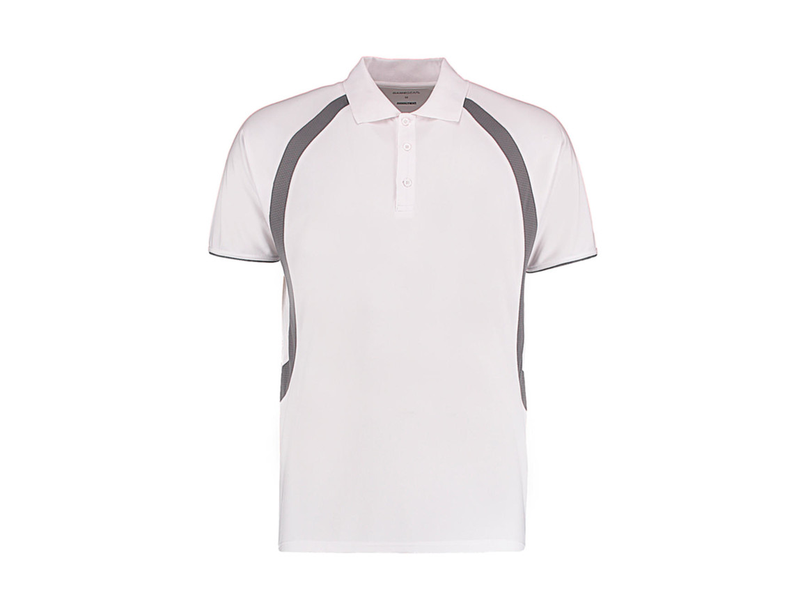Kustom Kit Classic Fit Cooltex® Riviera Polo Shirt, White/Grey, M bedrucken, Art.-Nr. 550110554