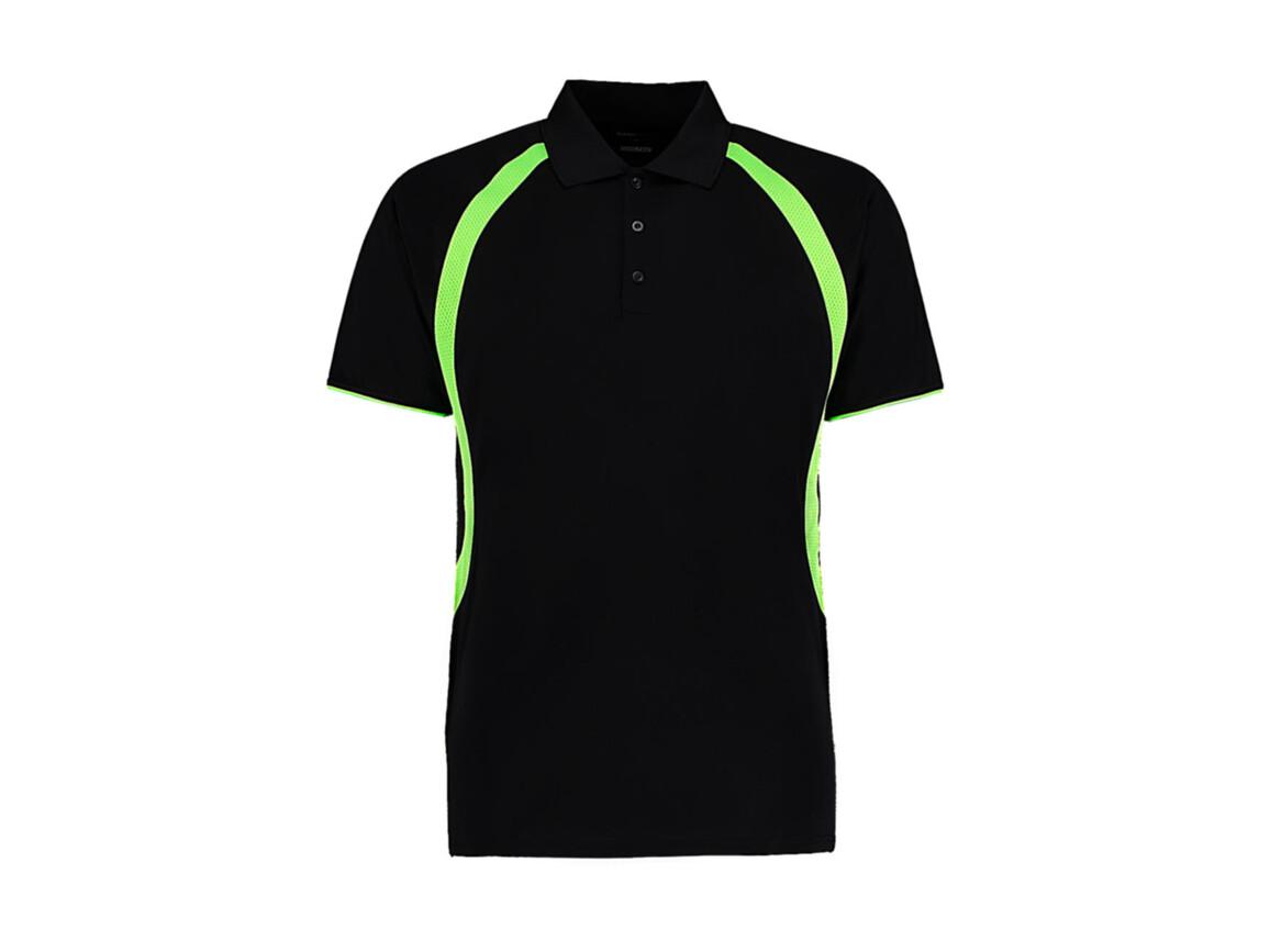 Kustom Kit Classic Fit Cooltex® Riviera Polo Shirt, Black/Fluorescent Lime, XL bedrucken, Art.-Nr. 550111626