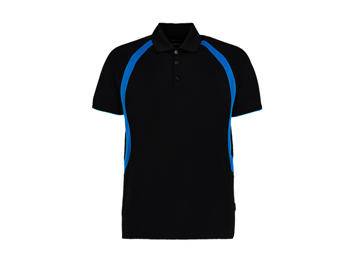 Kustom Kit Classic Fit Cooltex® Riviera Polo Shirt, Black/Electric Blue, L bedrucken, Art.-Nr. 550111635