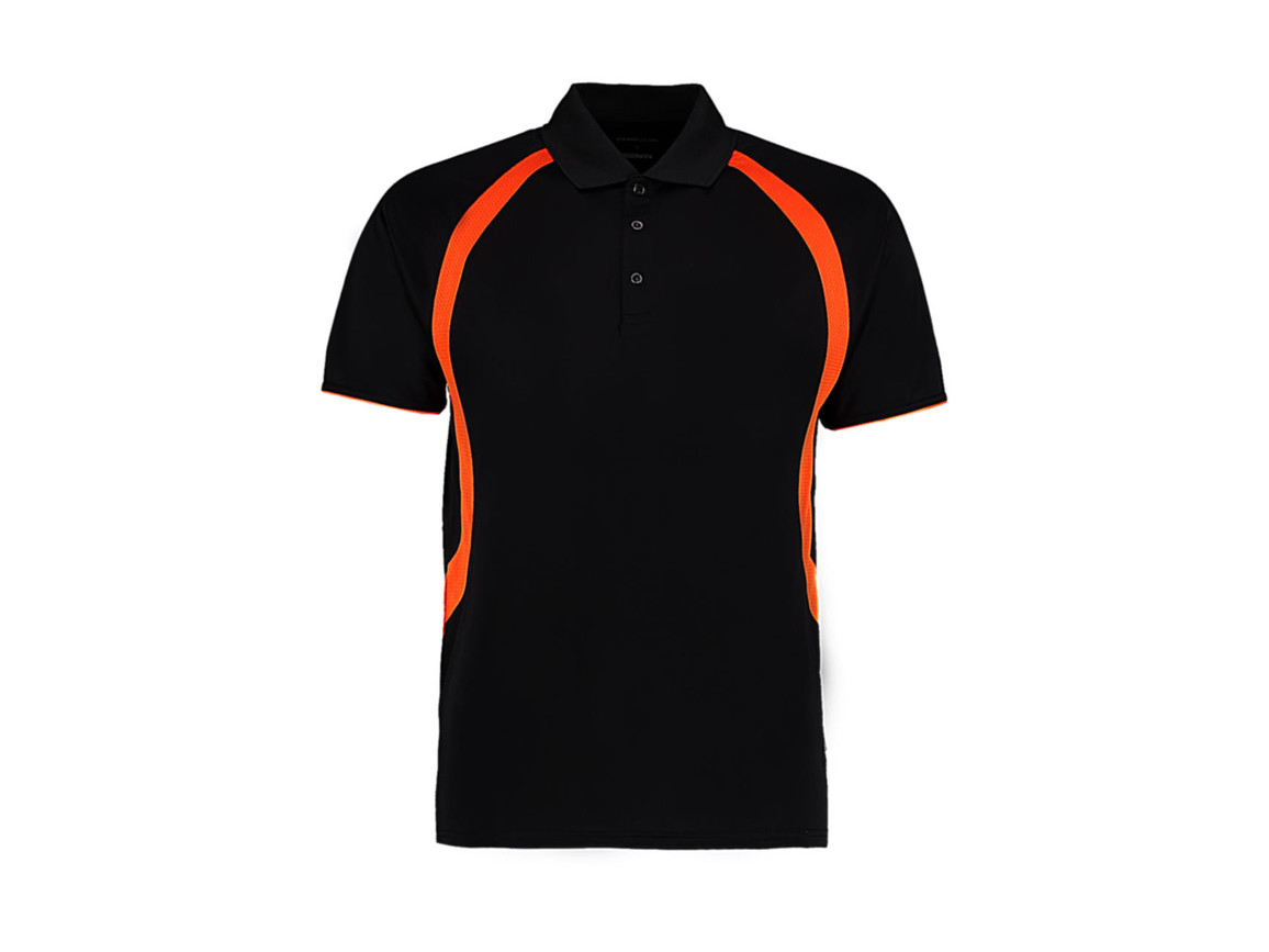 Kustom Kit Classic Fit Cooltex® Riviera Polo Shirt, Black/Orange, S bedrucken, Art.-Nr. 550111663