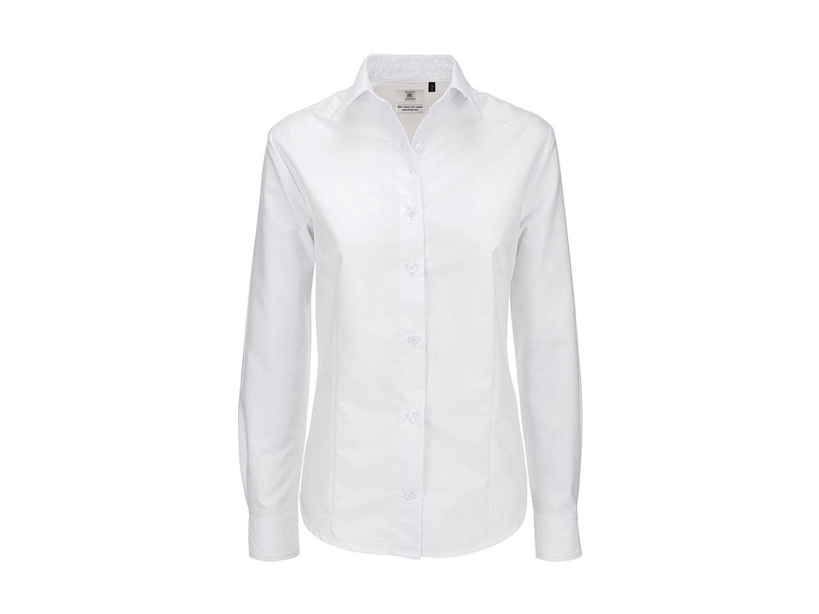 B & C Oxford LSL/women Shirt, White, S bedrucken, Art.-Nr. 710420003