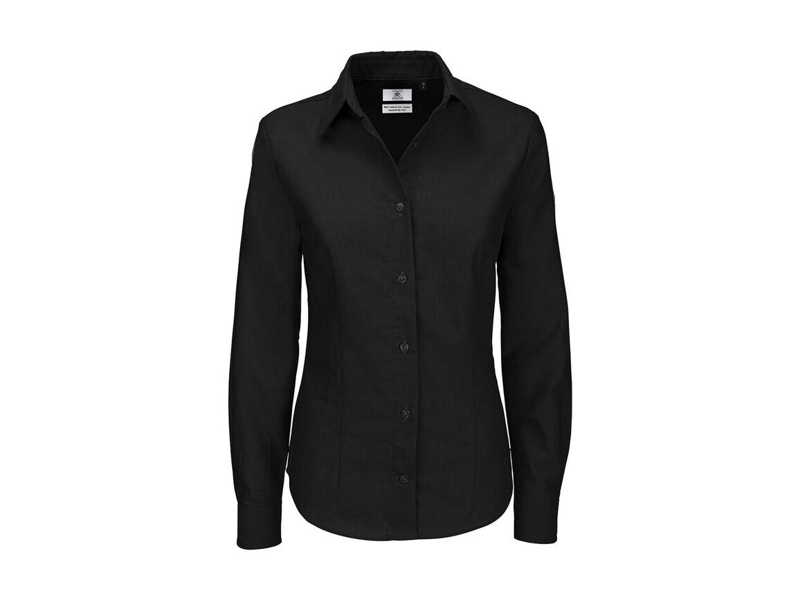 B & C Oxford LSL/women Shirt, Black, XL bedrucken, Art.-Nr. 710421016
