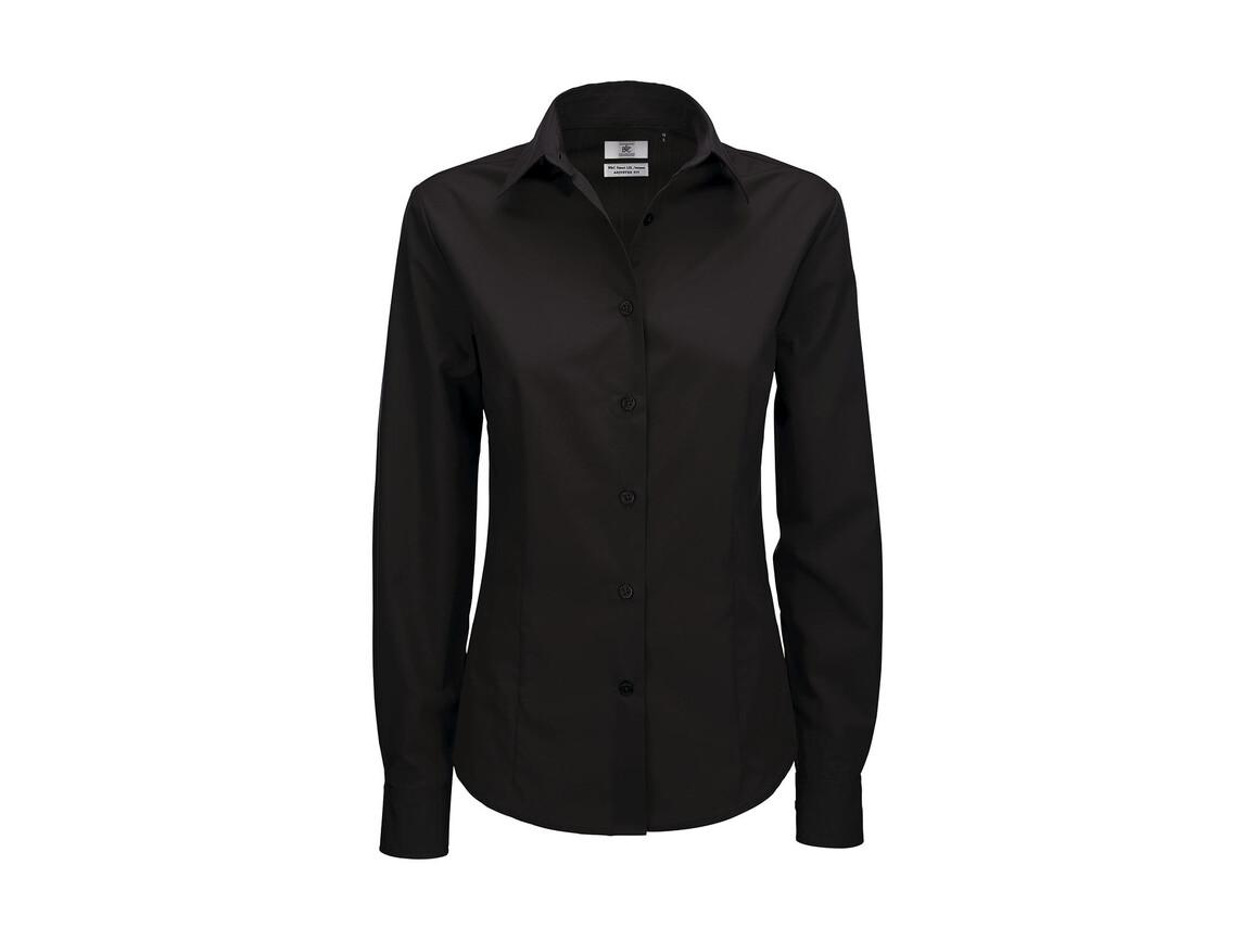 B & C Smart LSL/women Poplin Shirt, Black, M bedrucken, Art.-Nr. 716421014