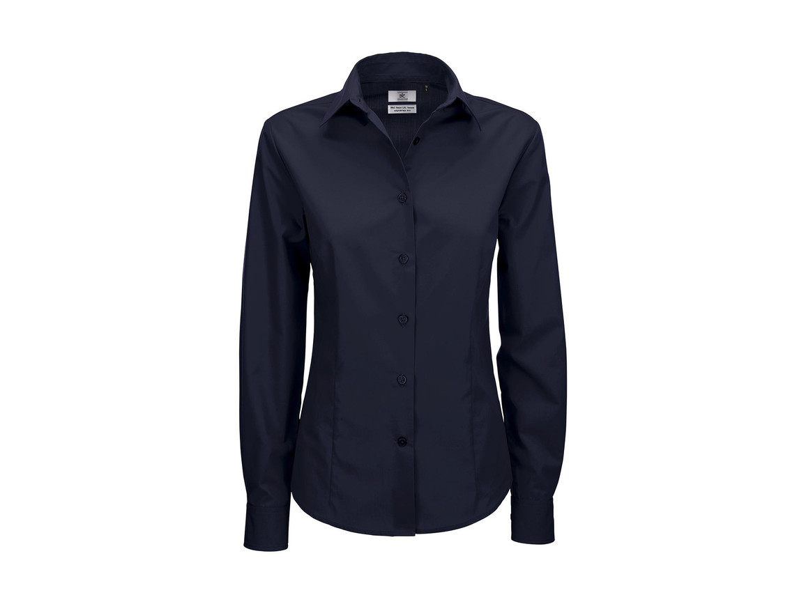 B & C Smart LSL/women Poplin Shirt, Navy Blue, L bedrucken, Art.-Nr. 716422005