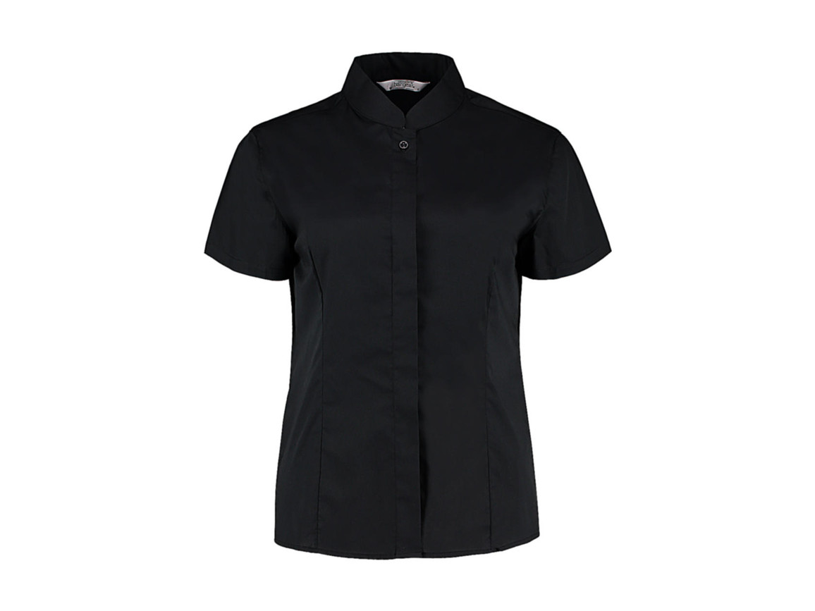 Kustom Kit Women`s Tailored Fit Mandarin Collar SSL, Black, 3XL bedrucken, Art.-Nr. 749111017