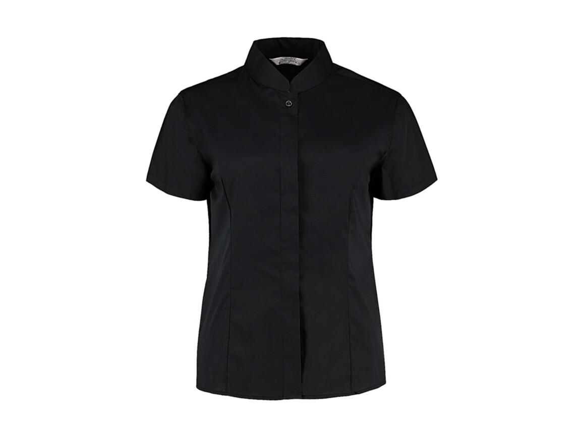 Kustom Kit Women`s Tailored Fit Mandarin Collar SSL, Black, XL bedrucken, Art.-Nr. 749111015