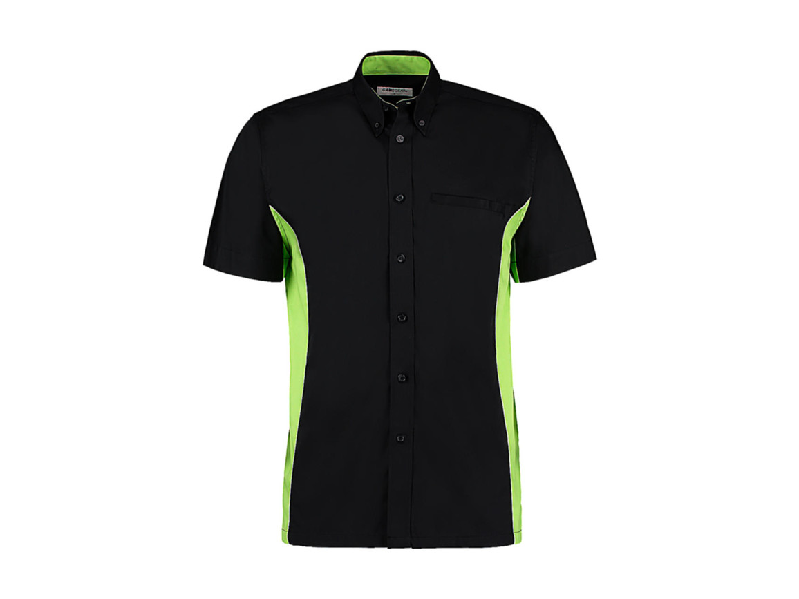 Kustom Kit Classic Fit Sportsman Shirt SSL, Black/Lime/White, 2XL bedrucken, Art.-Nr. 785111717