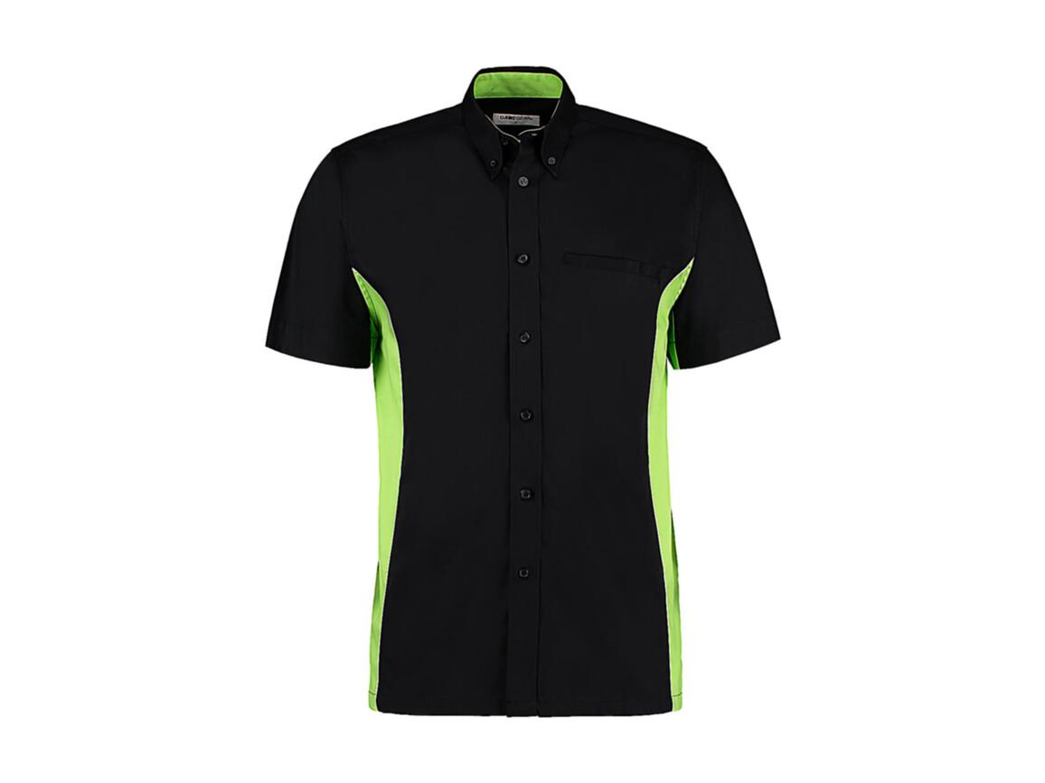 Kustom Kit Classic Fit Sportsman Shirt SSL, Black/Lime/White, 2XL bedrucken, Art.-Nr. 785111717