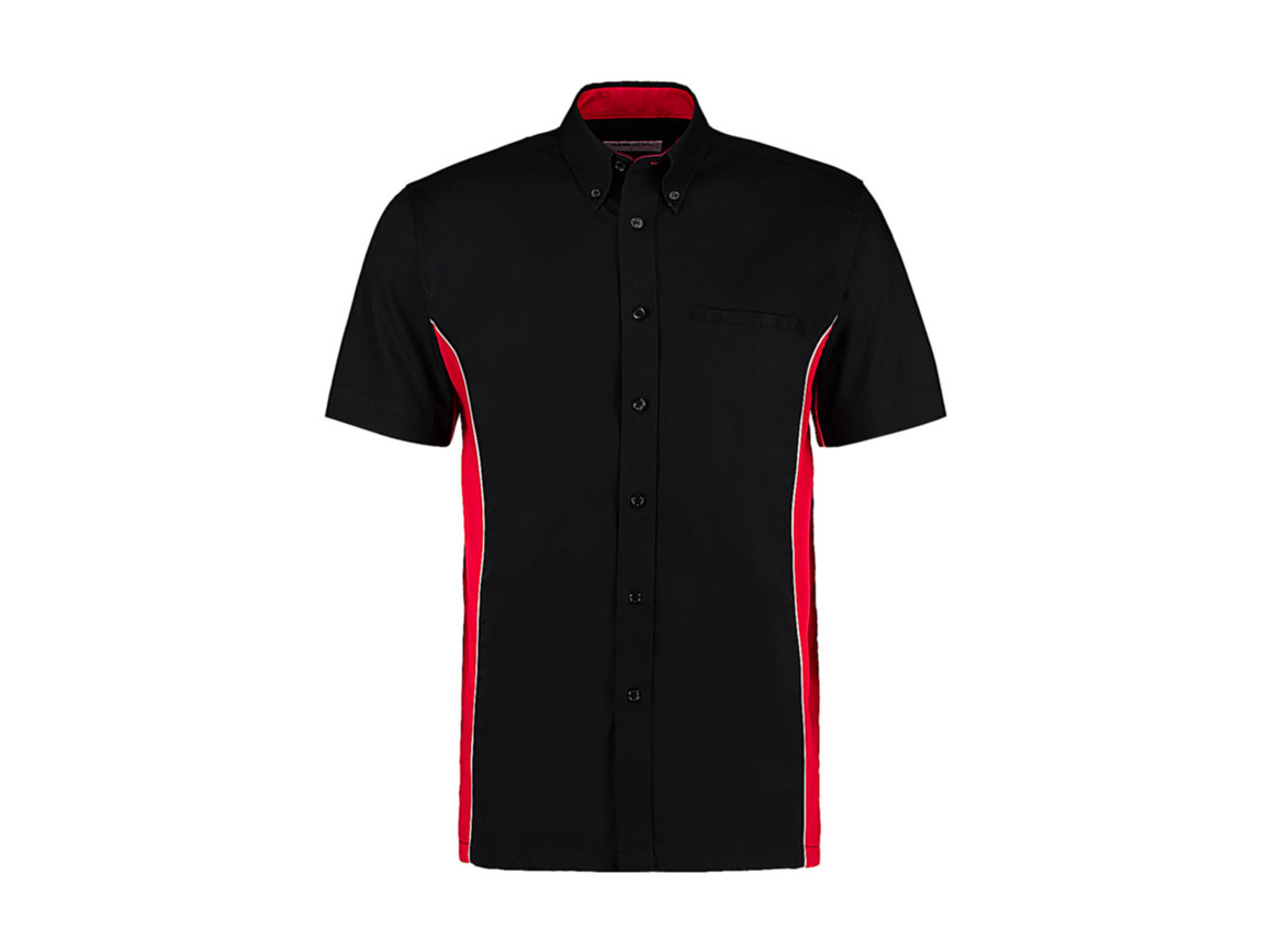 Kustom Kit Classic Fit Sportsman Shirt SSL, Black/Red/White, S bedrucken, Art.-Nr. 785111853