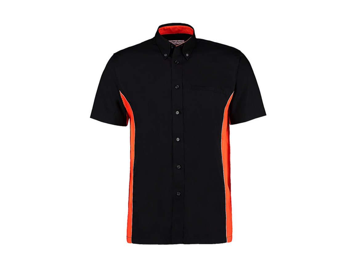Kustom Kit Classic Fit Sportsman Shirt SSL, Black/Orange/White, 3XL bedrucken, Art.-Nr. 785111978