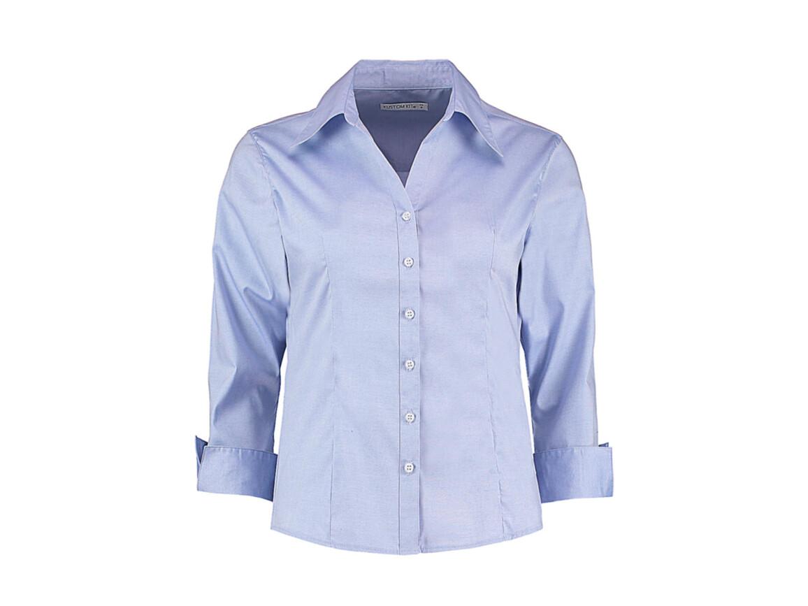 Kustom Kit Women`s Tailored Fit Premium Oxford 3/4 Shirt, Light Blue, XS bedrucken, Art.-Nr. 796113211