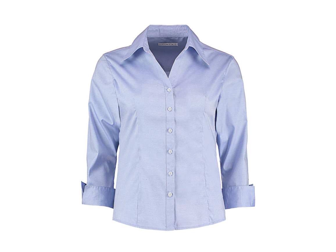 Kustom Kit Women`s Tailored Fit Premium Oxford 3/4 Shirt, Light Blue, XS bedrucken, Art.-Nr. 796113211