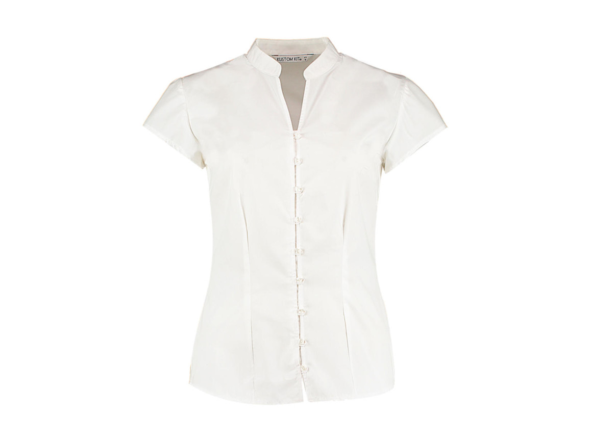 Kustom Kit Women`s Tailored Fit Mandarin Collar Blouse SSL, White, S (10) bedrucken, Art.-Nr. 797110002