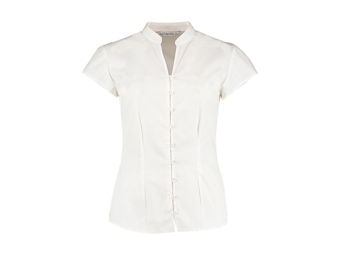 Kustom Kit Women`s Tailored Fit Mandarin Collar Blouse SSL, White, S (10) bedrucken, Art.-Nr. 797110002