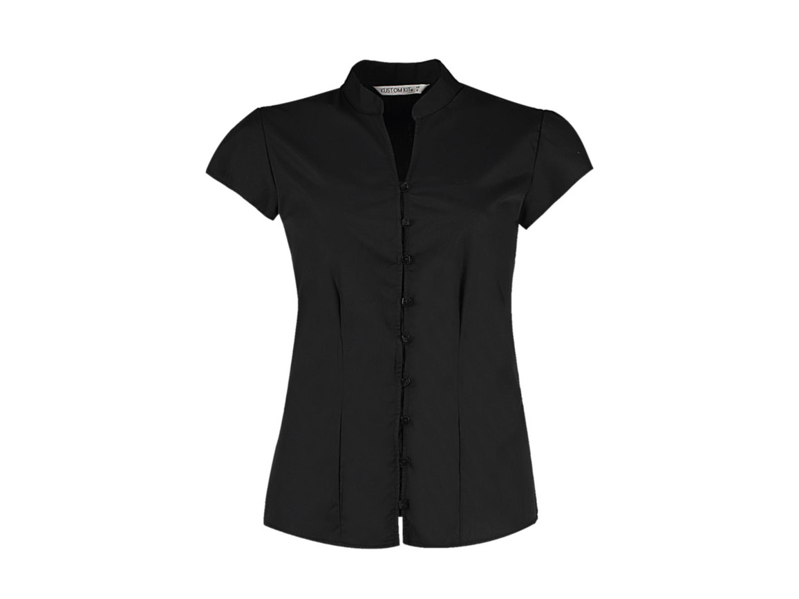 Kustom Kit Women`s Tailored Fit Mandarin Collar Blouse SSL, Black, S (10) bedrucken, Art.-Nr. 797111012