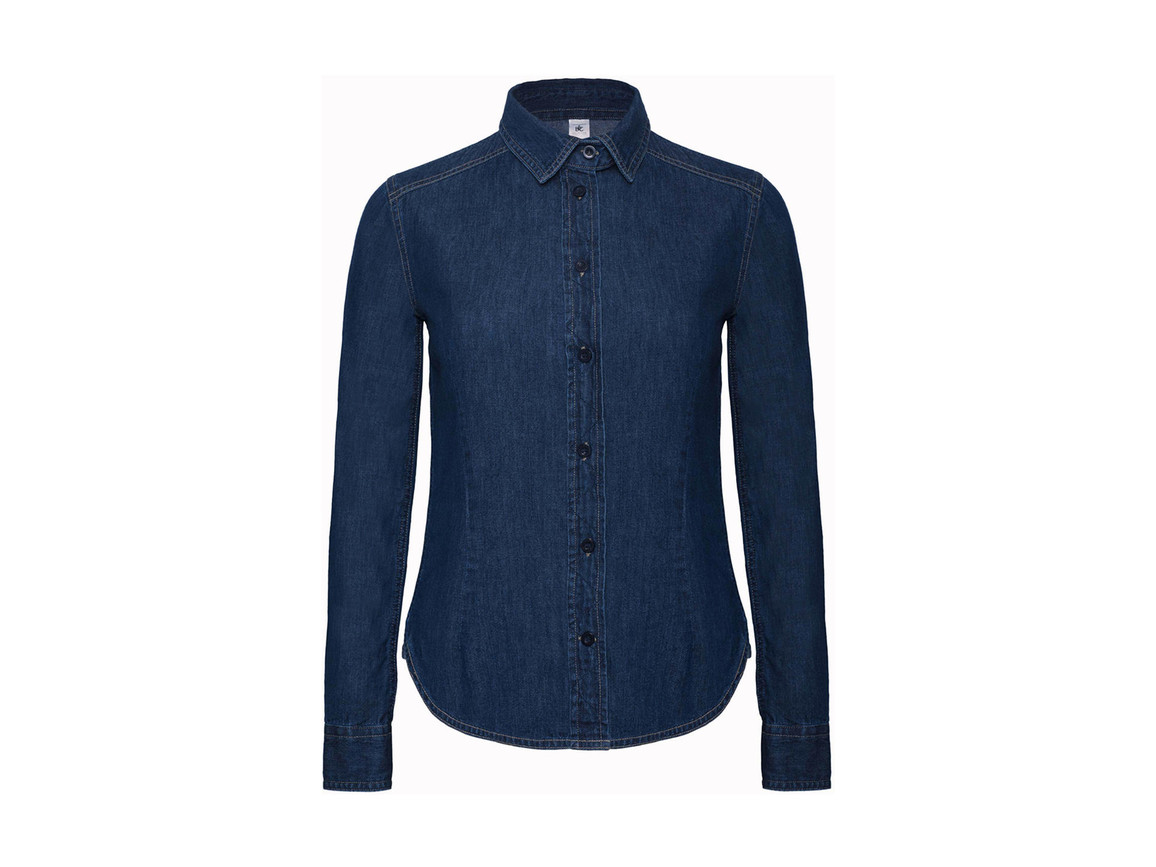 B & C DNM Vision/women Denim Shirt LS, Deep Blue Denim, XL bedrucken, Art.-Nr. 797422296