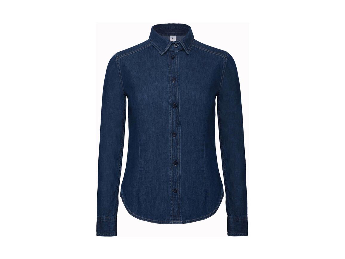 B & C DNM Vision/women Denim Shirt LS, Deep Blue Denim, XL bedrucken, Art.-Nr. 797422296