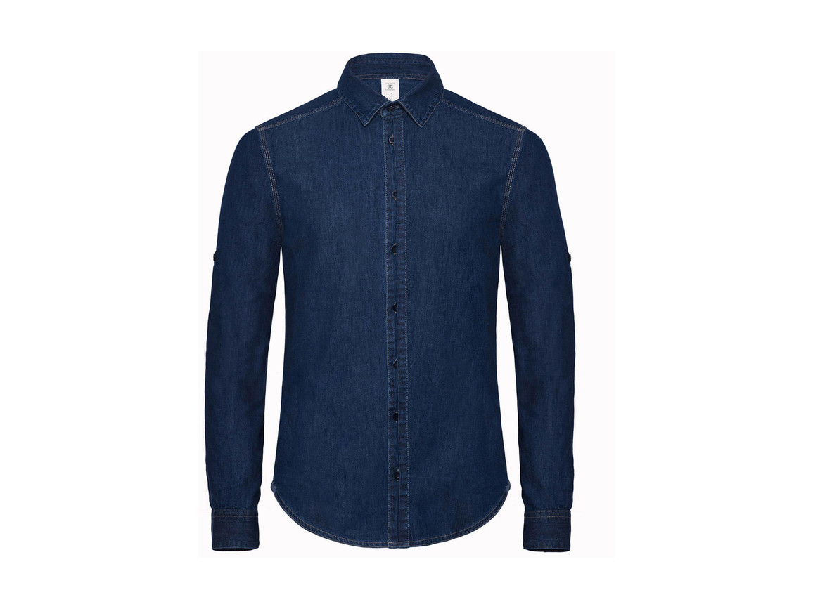 B & C DNM Vision/men Denim Shirt LS, Deep Blue Denim, S bedrucken, Art.-Nr. 799422293