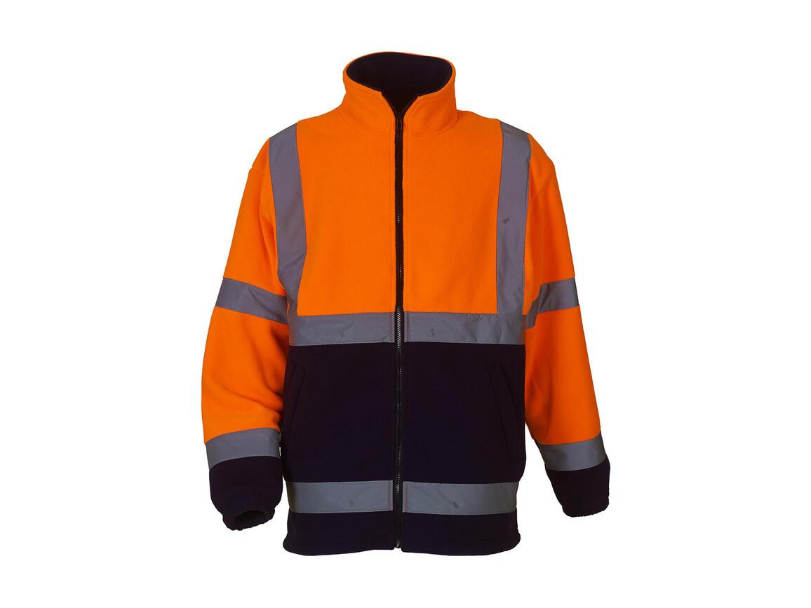 Yoko Fluo Fleece Jacket, Fluo Orange/Navy, 2XL bedrucken, Art.-Nr. 877774525